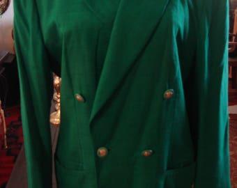 Vintage 1970s Vibrant Green Double Breast Jacket