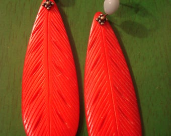 Handcrafted Red Feather Earrings
