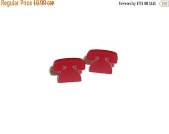 Red Telephone Earrings, Cute Tiny Retro Phone Laser Cut Stud Earrings