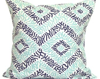 Pillow, Throw Pillow, Pillow Cover, Cushion, Decorative Pillow,Blue Tan Pillows, Blue, Aqua Pillow.Blue Toss. All Sizes, Cushion,cm