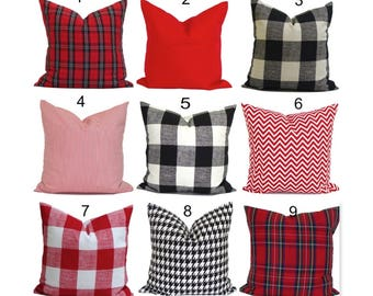 FARMHOUSE PILLOWS, Buffalo Check Tartan Plaid. Farmhouse Pillow Cover.Christmas Throw Pillow Decorative Pillow, Red Black Pillow Cover.cm