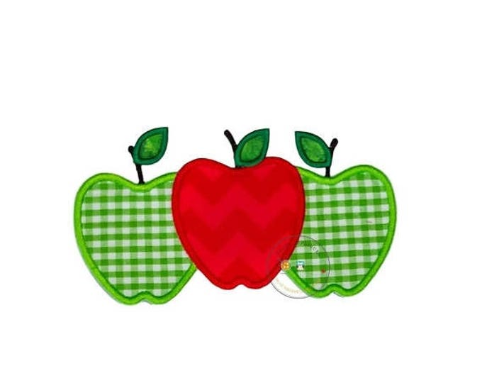 Green and red apple trio iron on applique