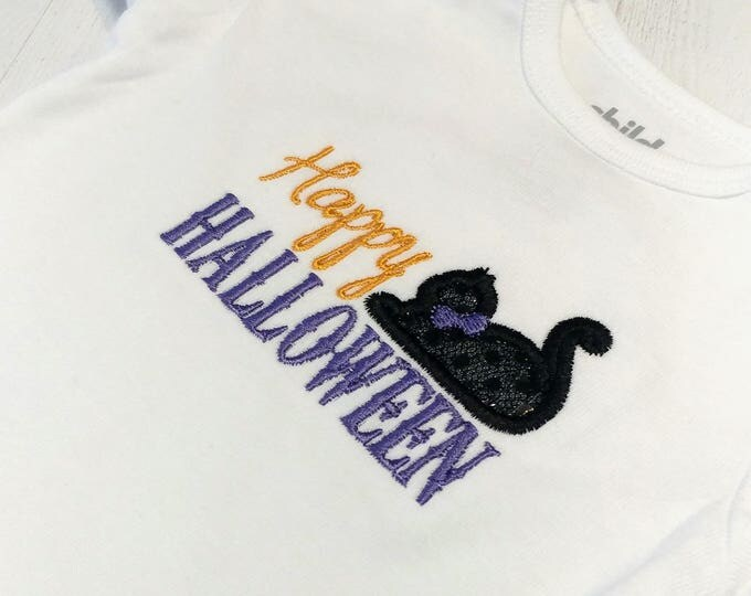 Happy Halloween with sequin cat  embroidered t shirt for girls- Halloween top girls