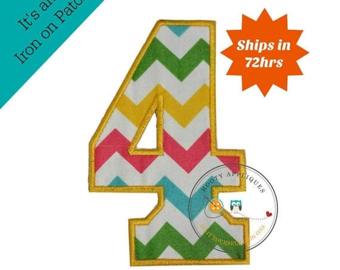 ON SALE NOW Large teal, yellow, green and pink chevron  number 4- iron embroidered fabric applique patch embellishment- ready to ship