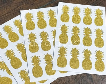 READY TO SHIP pineapple stickers, gold pineapple stickers, gold glitter pineapple stickers, pineapple labels, pineapple sticker