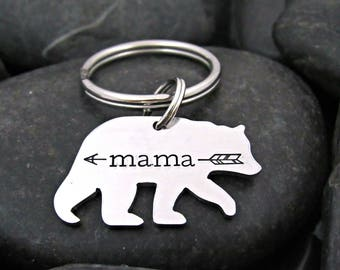 Mommy Keychain - Mama Bear - Mother's Day - New Mom - Gift for Mom - Arrow - Stamped