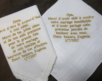Grandparents of the Bride - French Version - Personalized Wedding Handkerchiefs - Free Gift Envelopes - With Gold Non Script Font