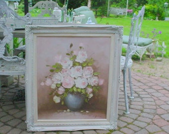 Original Oilpainting Roses Vintage Shabby Chic  Farmhouse French Prairie Cottage Chic