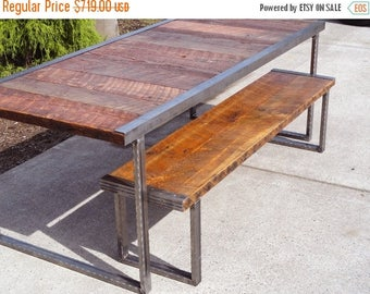 Limited Time Sale 10% OFF 5 ft Industrial Dining Table with Rectangular Steel Legs