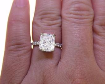 2.60 Ct Natural Rectangular Cushion Cut Pave Diamond Engagement Ring GIA
