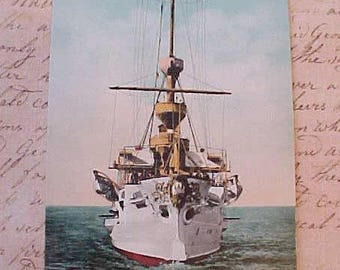 "Nice Old 1900 Era Postcard of the U.S. Protected Cruiser ""Albany"""