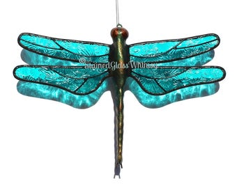 Stained Glass DRAGONFLY Suncatcher, Moonlight Turquoise, Textured Pressed Glass, USA Handmade, Turquoise Dragonfly, Turquoise Firefly