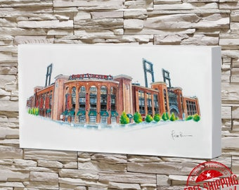 busch stadium Art canvas 10x20 st louis cardinals art cardinals gift