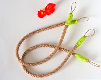 Hemp Rope curtain tie backs Green tiebacks Natural Eco friendly Upcycled Spring Nature inspired Home decor Ecological Minimal decoration