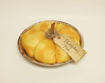 Primitive Pumpkin Pie, Fall Decor, Thanksgiving Decor, Fake Pies, Country Farmhouse Decor