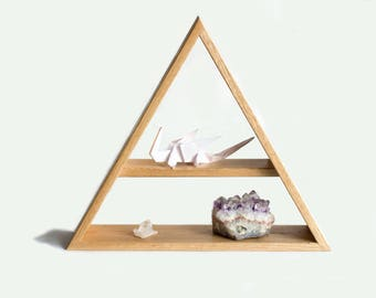 Triangle Shelf - Solid Oak - Geometric - Storage - Wall Shelf - Wall Decor - Shelf Unit - Shelves - Display Shelf - Oak Shelf - Wooden Shelf