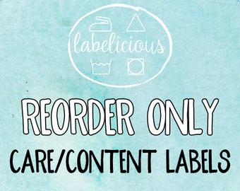 RE-ORDER ONLY - Care/Content Labels