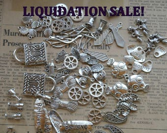 50pcs LIQUIDATION Assorted  Grab Bag Antique Silver Charms AMAZING DEAL