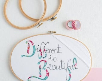 ON SALE Different is Beautiful Embroidery Hoop