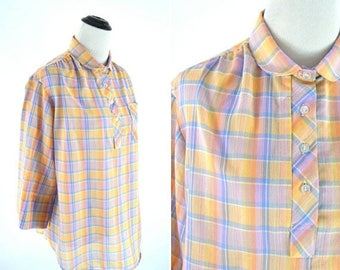 SUMMER SALE Vintage 70s Orange and Blue Plaid Peter Pan Collar Blouse - Cotton Blend Pullover Top  - Ladies size Medium