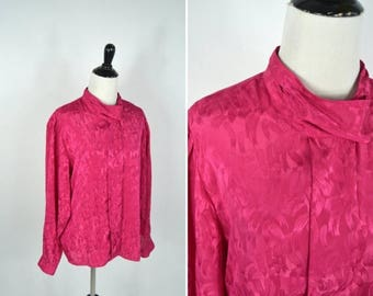 SUMMER SALE Vintage 1980's Hot Pink Secretary Blouse - Button up High Neck Shirt - long sleeve professional top - ladies size large
