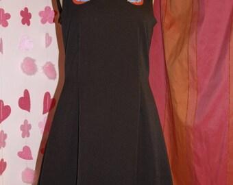 Little black dress rockabilly swallow motif