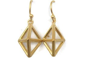 Small Gold Geometric Earrings Pyramid Earring Drops, Gold Vermeil Earrings Himmeli, SMall Gold Drop Earrings  Handmade  by Sheri Beryl