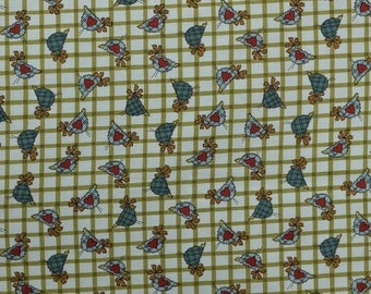 Cotton Quilting Fabric, Country Fabric, Chicken Fabric, Sewing Fabric Remnant, Plaid Fabric, Animal Fabric - 1 Yard - CFL2331