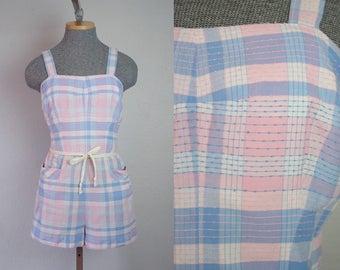 1950's Plaid Blue and Pink Pastel Cotton Playsuit Romper / Size Medium