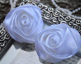 "3"" XLarge Satin Fabric Roses, Rolled Rosettes, White Satin Rolled Rosettes, Satin Roses, Rolled Satin Roses, Satin Flowers"