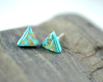Turquoise Triangle with Gold Leaf High Gloss Stud Earrings