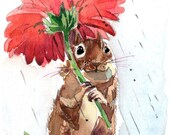 "Art print 5"" x 7"" -Sweet rains, Animal art print of an original watercolor painting by Anna, Squirrel watercolor"
