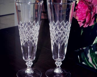 """2 CRYSTAL PILSNER TUMBLERS 10 Oz. Beer Soda Clear Cut Criss Cross Diamond 8 1/4"""" Cola High Balls Clear Plain Crystal Wafer Stems Excellent!"""