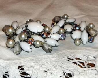 Vintage KRAMER Brooch and Earrings, Milk Glass and AB Rhinestones