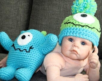 Little Monster Hat and Stuffie Set - Newborn to Toddler Beanie and Stuffie/Lovey, Monster Set, Halloween, NB Photo Prop, Baby Shower Giftft