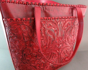 """Made in Guadalajara Mexico~Hand Tooled """"Antique Red"""" Leather Western Style Purse"""