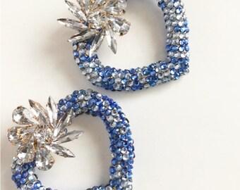 Custom Sparkle Heart Hoop Stud Earrings, Customised Hoop Earrings, Sparkly Earrings, Sparkly Jewelry, Customised Jewelry