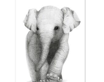 Monotone Elephant Print A4