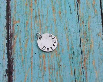 Hammered, Sterling Silver, Personalized, Block Letter Name Charm/Pendant