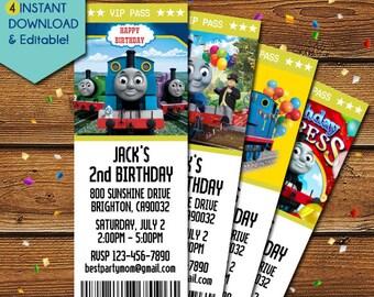 Train Invitation Template, Thomas Train Birthday Invitation, The Train Birthday Invitations, Train Party Invite, Thomas, Tank Engine