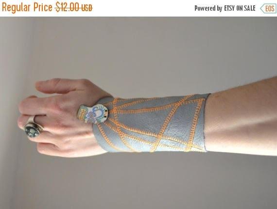 ON SALE Geometric Leather Cuff Bracelet - Skull Leather Cuff Bracelet - Leather Cuff