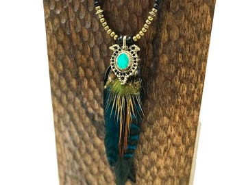 Turquoise Green Beaded Feather Necklace