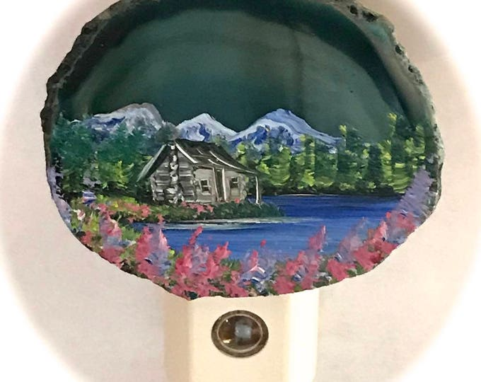 Agate Night Lights  Sensor w 7 watt bulb Hand Painted Oils  Mountain  Summer Log Cabin