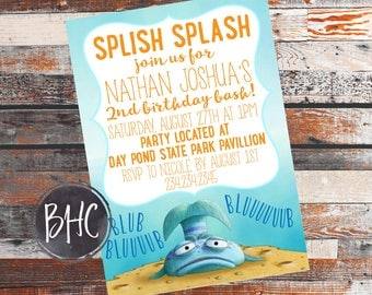 Rainbow fish fish baby shower invitation for Pout pout fish pdf