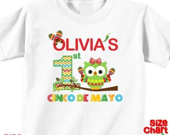SALE Personalized 1st First Cinco de Mayo Baby Little Girl T-shirt Shirt Baby Bodysuit Cinco de Mayo Festival Owl