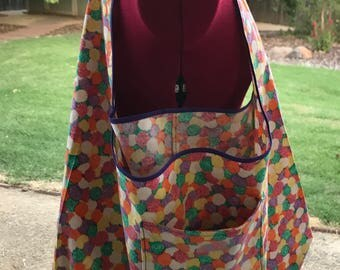 Med-Large Folding Bag, Gumdrops Market Bag, Unlined Shopping Bag, Fold-up Project Bag, Lightweight Carryall Bag, Reusable Grocery Bag