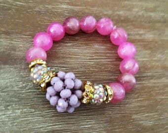 Bead Bracelet - Stretch Beaded Bracelet Friendship Bracelet Arm Candy Dusty Rose Jewelry