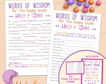 Funny Wedding Mad Lib Guestbook - Words Of Wisdom - Printable Or Printed [#223]