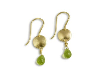14k Recycled Gold Disk with Peridot Briolette Earrings