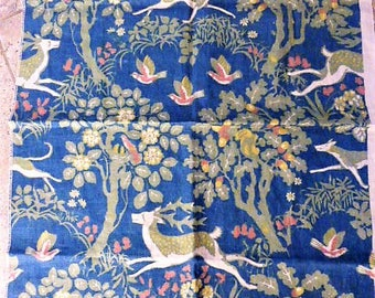 Vintage Lee Jofa Mille Fleurs Fabric Remnant 34 by by 24 Inches